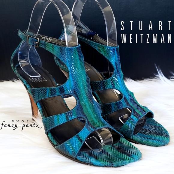 Stuart Weitzman Cut Out Heels 7 Blue Green Sandal